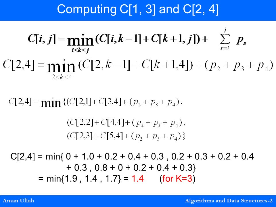 Aman Ullah Algorithms and Data Structures-2 Computing C[1, 3] and C[2, 4] C[2,4] = min{ , , } = min{1.9, 1.4, 1.7} = 1.4 (for K=3)
