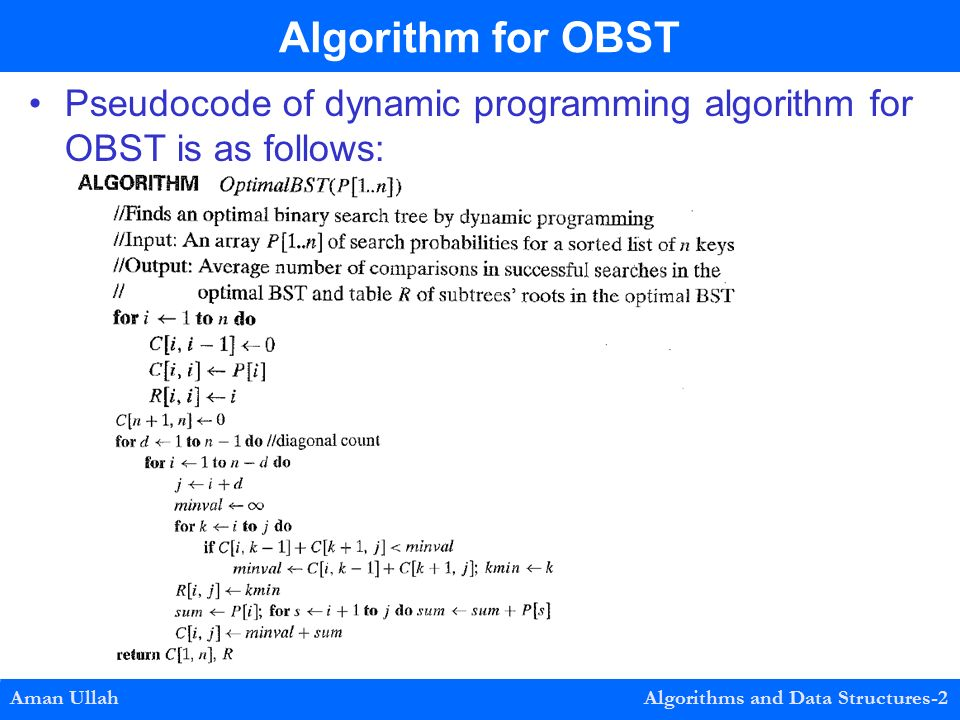 Pseudocode of dynamic programming algorithm for OBST is as follows: Algorithm for OBST Aman Ullah Algorithms and Data Structures-2