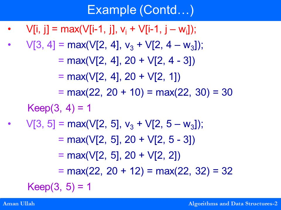 V[i, j] = max(V[i-1, j], v i + V[i-1, j – w i ]); V[3, 4] = max(V[2, 4], v 3 + V[2, 4 – w 3 ]); = max(V[2, 4], 20 + V[2, 4 - 3]) = max(V[2, 4], 20 + V[2, 1]) = max(22, ) = max(22, 30) = 30 Keep(3, 4) = 1 V[3, 5] = max(V[2, 5], v 3 + V[2, 5 – w 3 ]); = max(V[2, 5], 20 + V[2, 5 - 3]) = max(V[2, 5], 20 + V[2, 2]) = max(22, ) = max(22, 32) = 32 Keep(3, 5) = 1 Example (Contd…) Aman Ullah Algorithms and Data Structures-2
