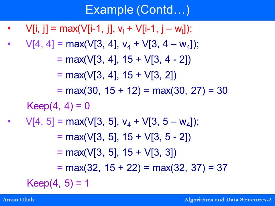 V[i, j] = max(V[i-1, j], v i + V[i-1, j – w i ]); V[4, 4] = max(V[3, 4], v 4 + V[3, 4 – w 4 ]); = max(V[3, 4], 15 + V[3, 4 - 2]) = max(V[3, 4], 15 + V[3, 2]) = max(30, ) = max(30, 27) = 30 Keep(4, 4) = 0 V[4, 5] = max(V[3, 5], v 4 + V[3, 5 – w 4 ]); = max(V[3, 5], 15 + V[3, 5 - 2]) = max(V[3, 5], 15 + V[3, 3]) = max(32, ) = max(32, 37) = 37 Keep(4, 5) = 1 Example (Contd…) Aman Ullah Algorithms and Data Structures-2