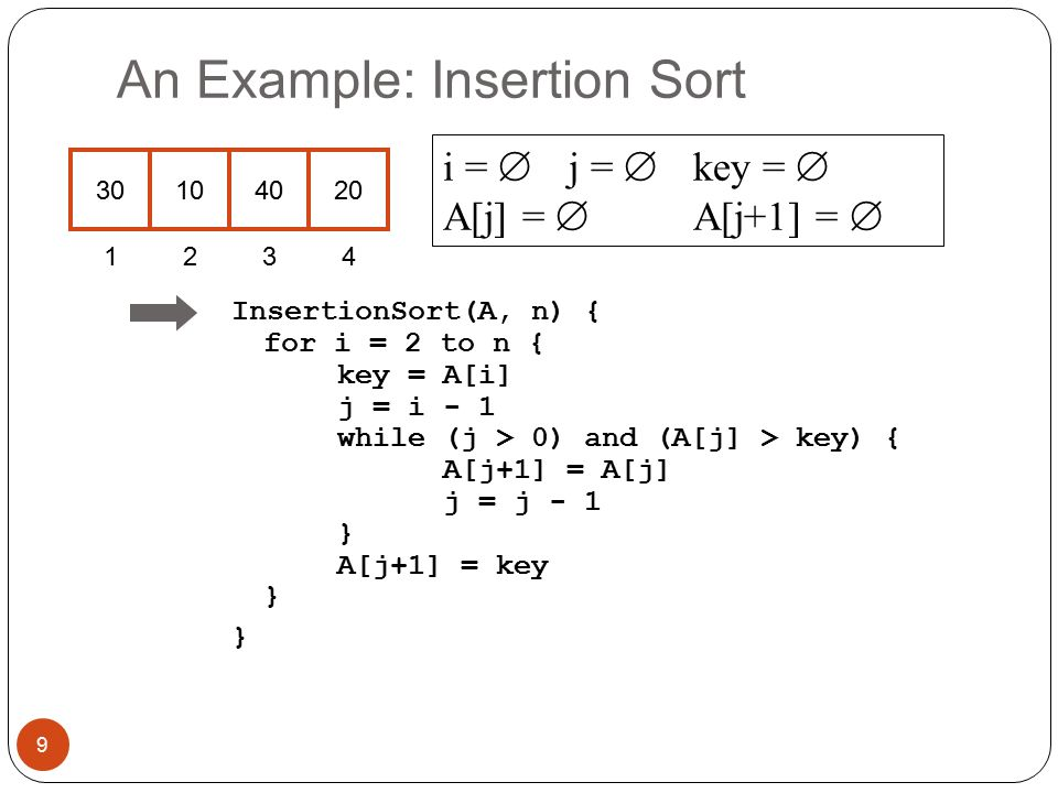 An Example: Insertion Sort InsertionSort(A, n) { for i = 2 to n { key = A[i] j = i - 1 while (j > 0) and (A[j] > key) { A[j+1] = A[j] j = j - 1 } A[j+1] = key } } i =  j =  key =  A[j] =  A[j+1] =  9