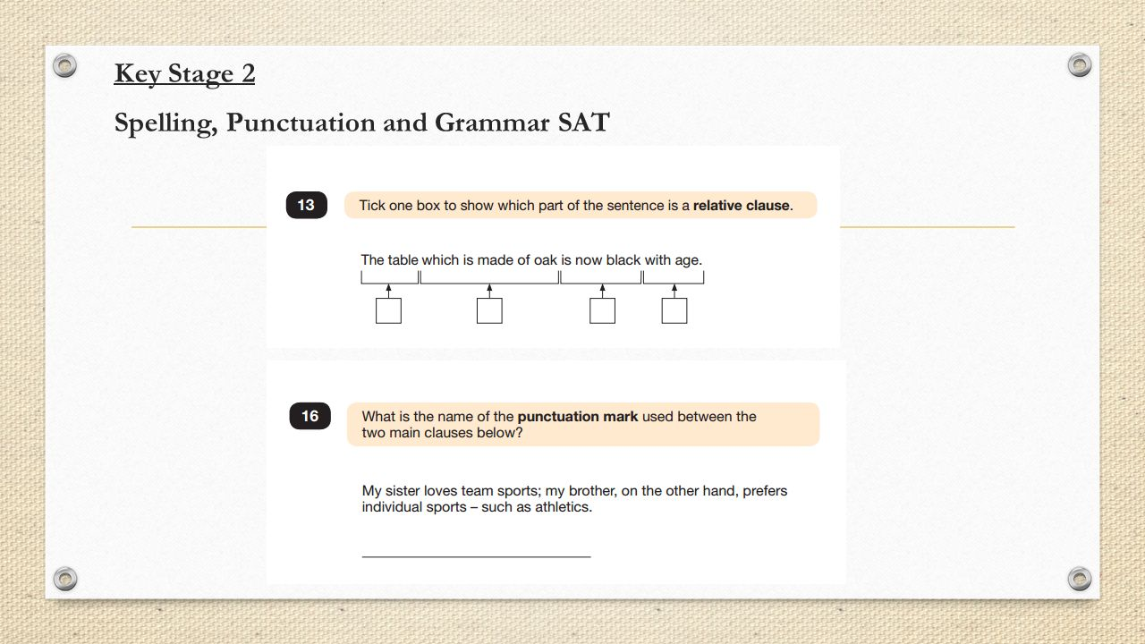 Key Stage 2 Spelling, Punctuation and Grammar SAT