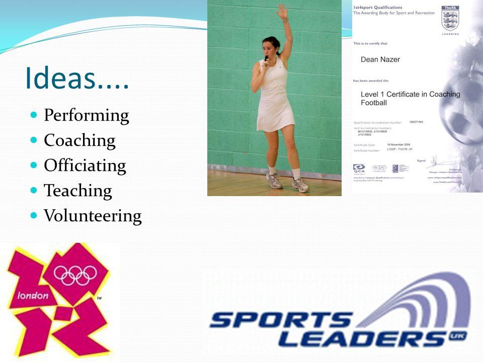 Ideas.... Performing Coaching Officiating Teaching Volunteering