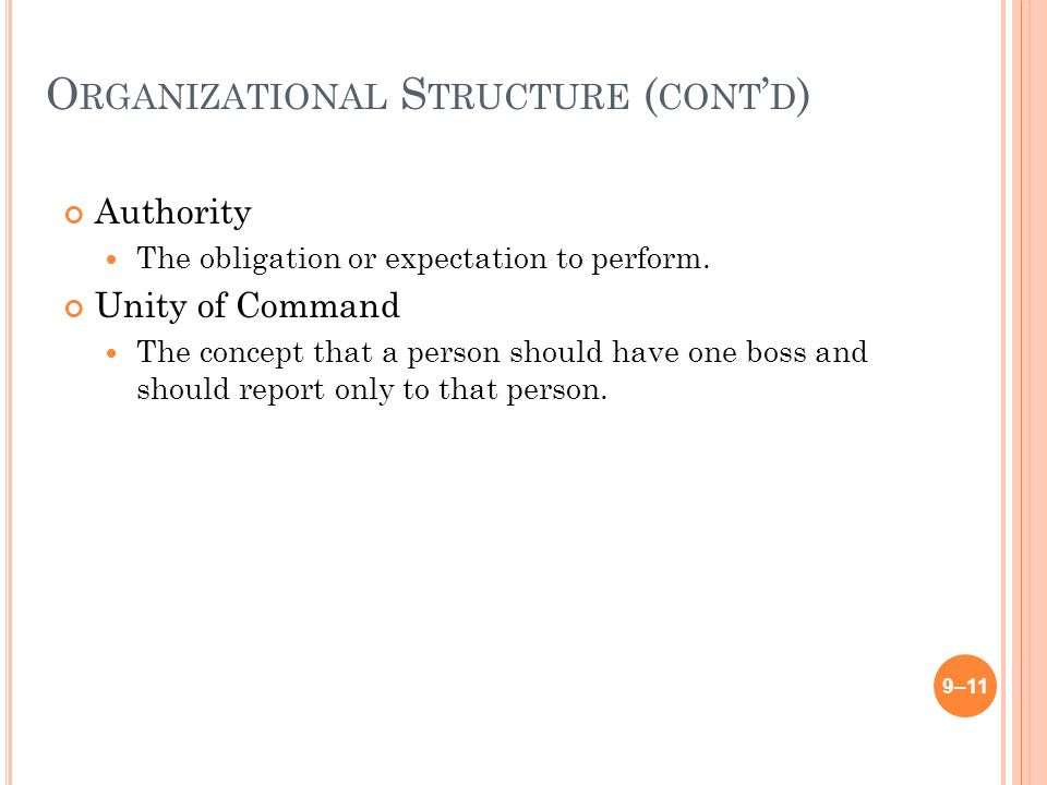 O RGANIZATIONAL S TRUCTURE ( CONT ' D ) Authority The obligation or expectation to perform.