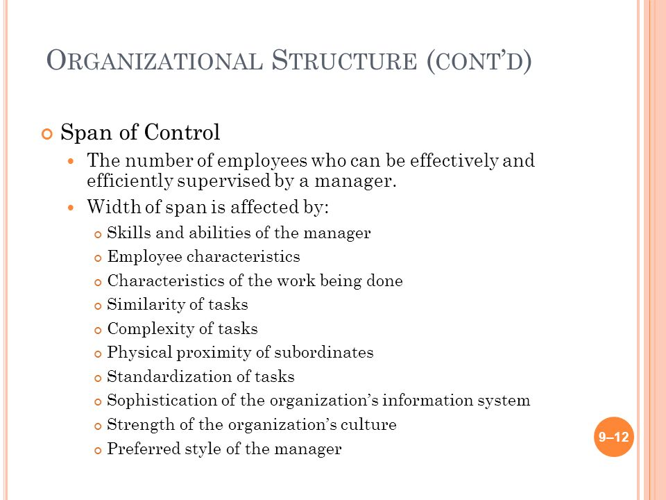 O RGANIZATIONAL S TRUCTURE ( CONT ' D ) Span of Control The number of employees who can be effectively and efficiently supervised by a manager.