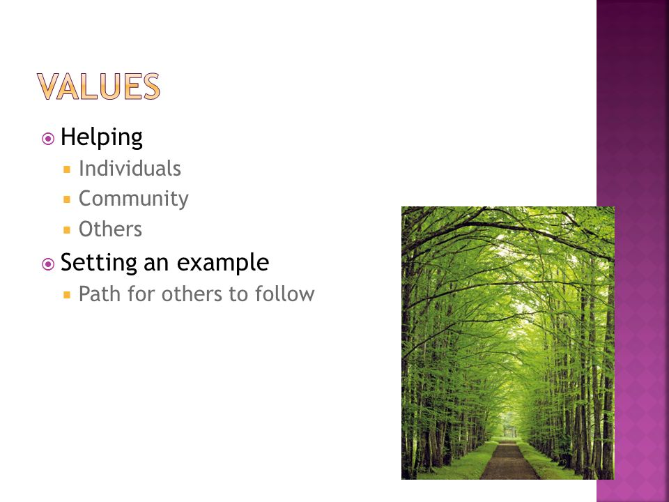  Helping  Individuals  Community  Others  Setting an example  Path for others to follow