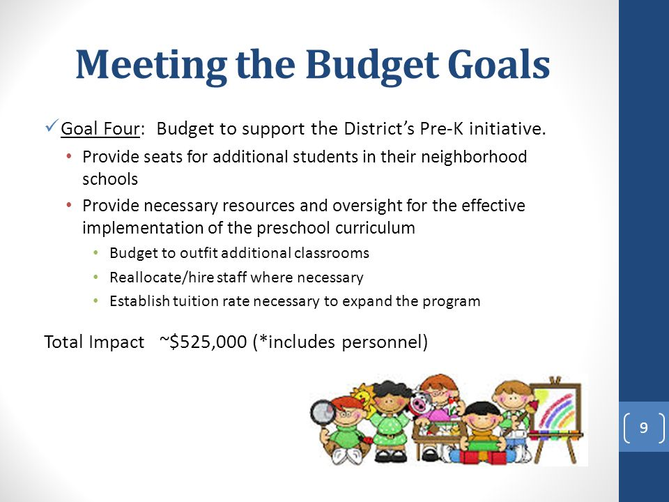 Meeting the Budget Goals Goal Four: Budget to support the District's Pre-K initiative.