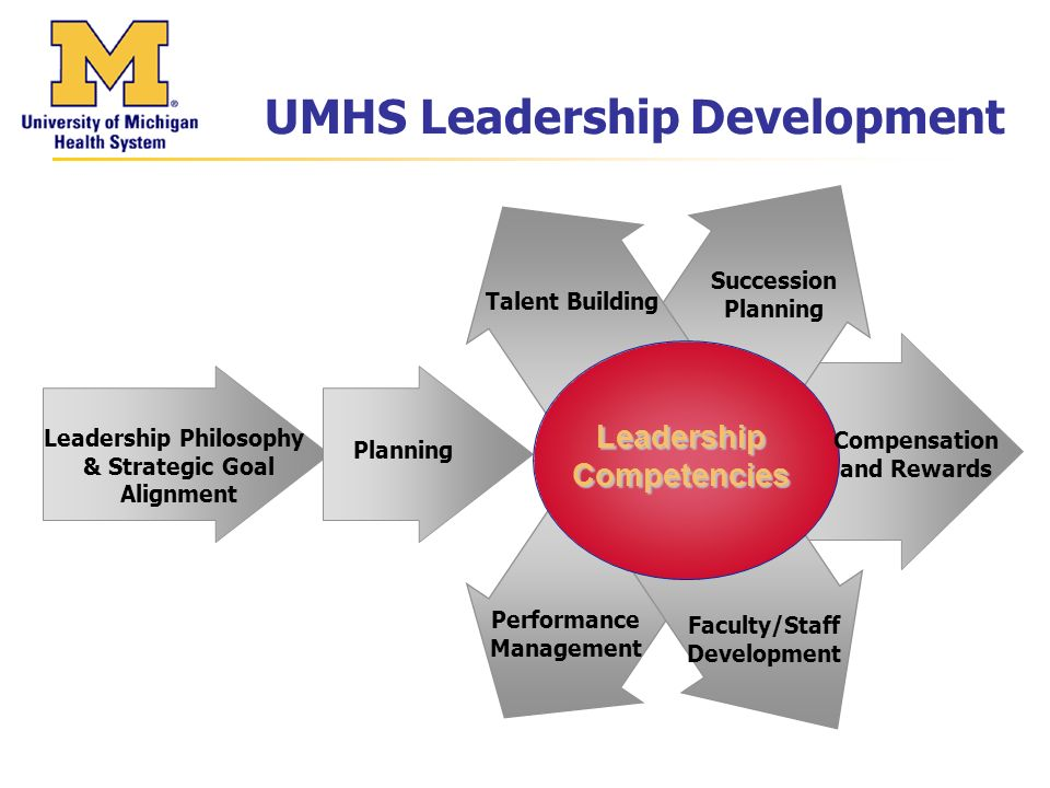 UMHS Leadership Development Talent Building Succession Planning Faculty/Staff Development Performance Management Planning Leadership Philosophy & Strategic Goal Alignment Leadership Competencies Compensation and Rewards