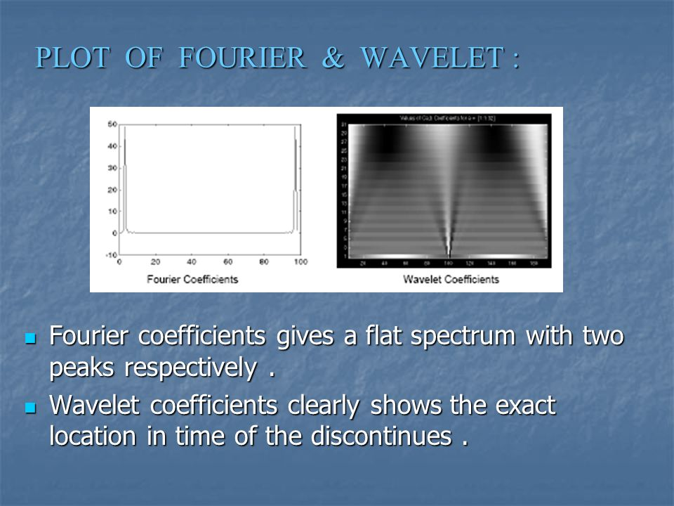PLOT OF FOURIER & WAVELET : Fourier coefficients gives a flat spectrum with two peaks respectively.