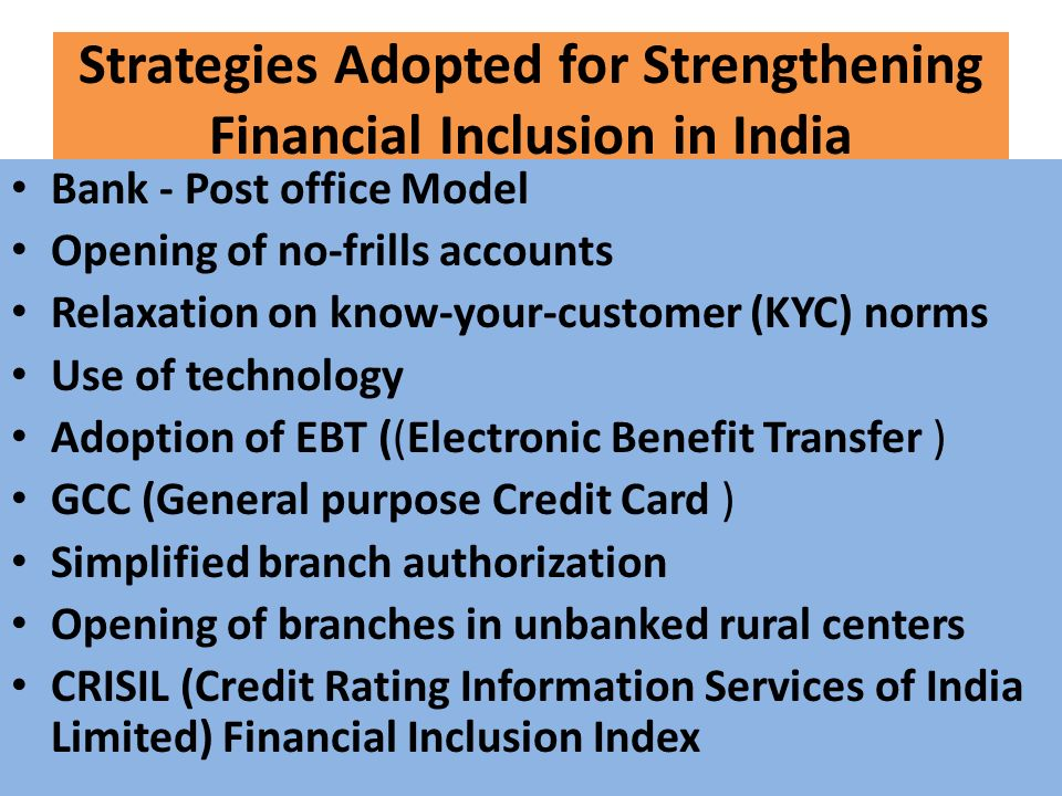 an overview of the financial inclusion in india Measuring financial inclusion in urban india-a cross-sectional examination of financial depth a case study of bangalore urban district j a n a f o u n d a t i o n.