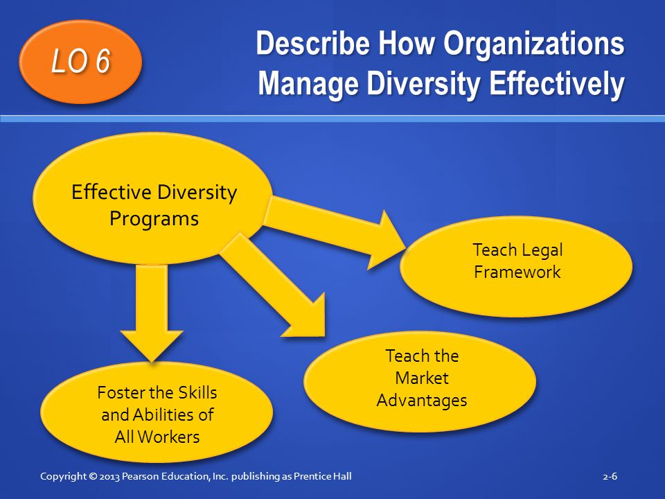 Describe How Organizations Manage Diversity Effectively Copyright © 2013 Pearson Education, Inc. publishing as Prentice Hall2-6 LO 6 Effective Diversi