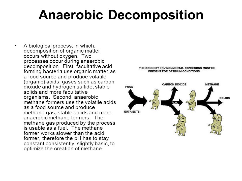 Anaerobic Decomposition A biological process, in which, decomposition of organic matter occurs without oxygen.