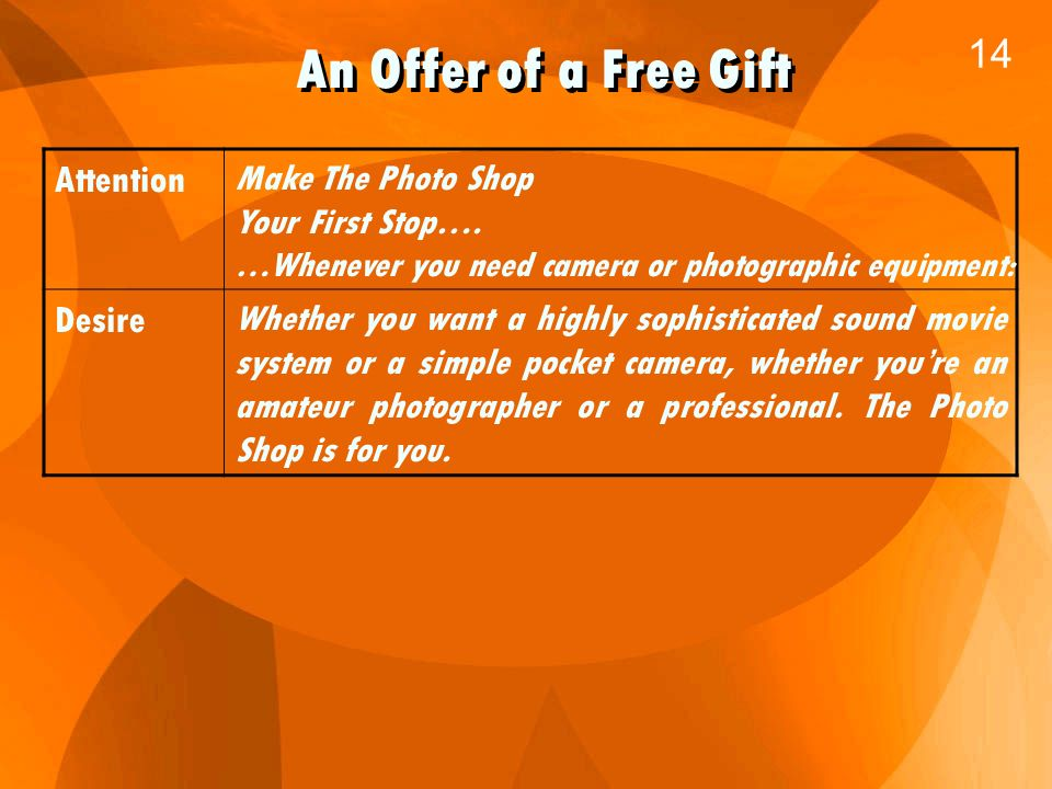 An Offer of a Free Gift 14 Attention Make The Photo Shop Your First Stop….