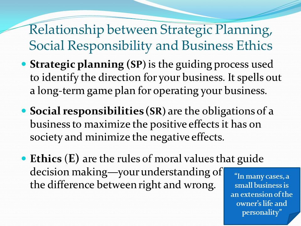 ethics social responsibility and strategic planning