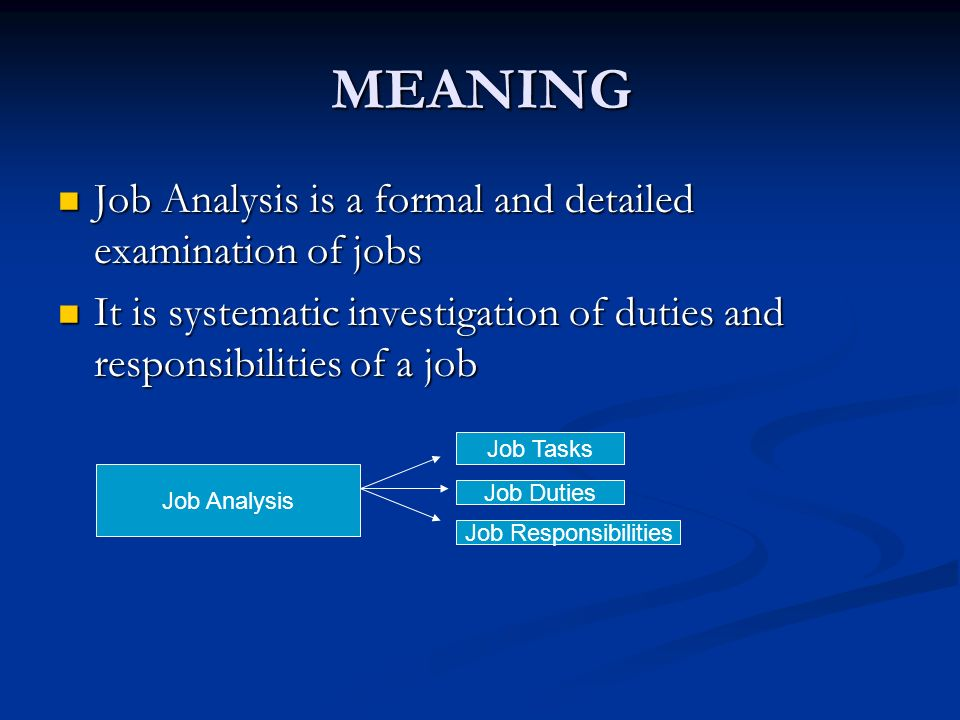 an analysis of jobs Job analysis: hr-guide to the internet job analysis is a process to identify and determine in detail the particular job duties and requirements and the relative importance of these duties for a given job.