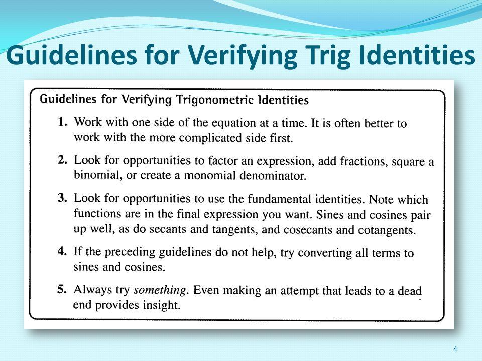 Chapter 5 Analytic Trigonometry Verifying Trig Identities – Proving Trigonometric Identities Worksheet