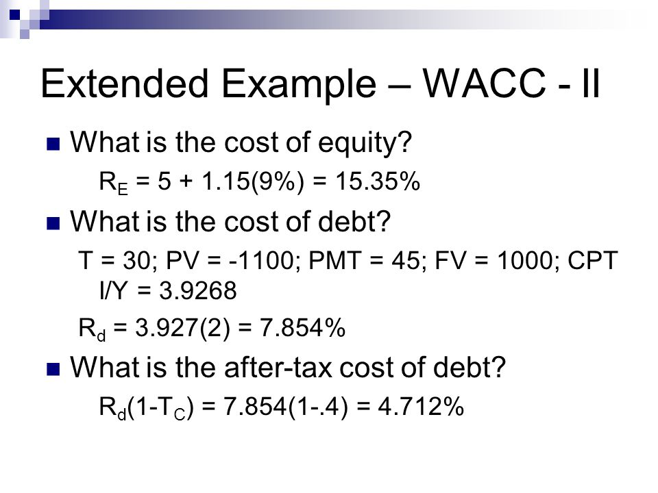 wacc example Consider, for example, a company with three sources of finance: equity, preference shares and debt (see table 1) the company's wacc would be calculated as follows.