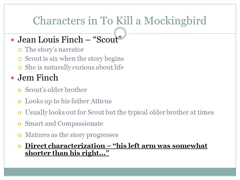 an evaluation of jean louse finchs character in harper lees novel to kill mockingbird 16 thoughts on write better: 3 ways to introduce your main character jordanflintoff an introduction to the different ways of writing essays october 26, 2015 at 3:17 am.