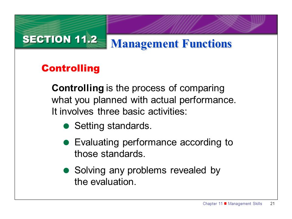 Chapter 11 Management Skills21 SECTION 11.2 Management Functions Controlling is the process of comparing what you planned with actual performance. It
