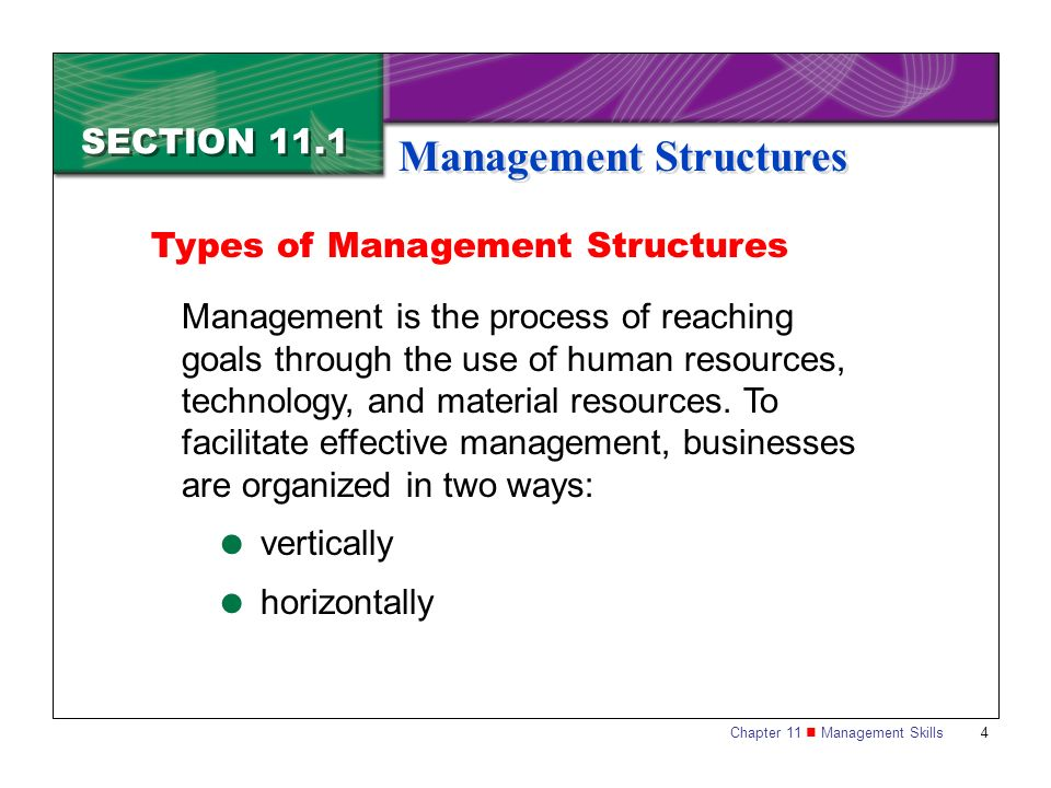Chapter 11 Management Skills4 SECTION 11.1 Management Structures Management is the process of reaching goals through the use of human resources, techn