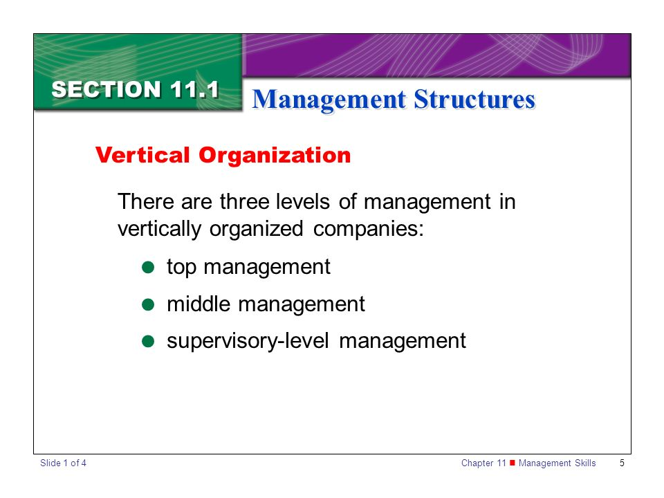 Chapter 11 Management Skills5 SECTION 11.1 Management Structures Vertical Organization There are three levels of management in vertically organized co