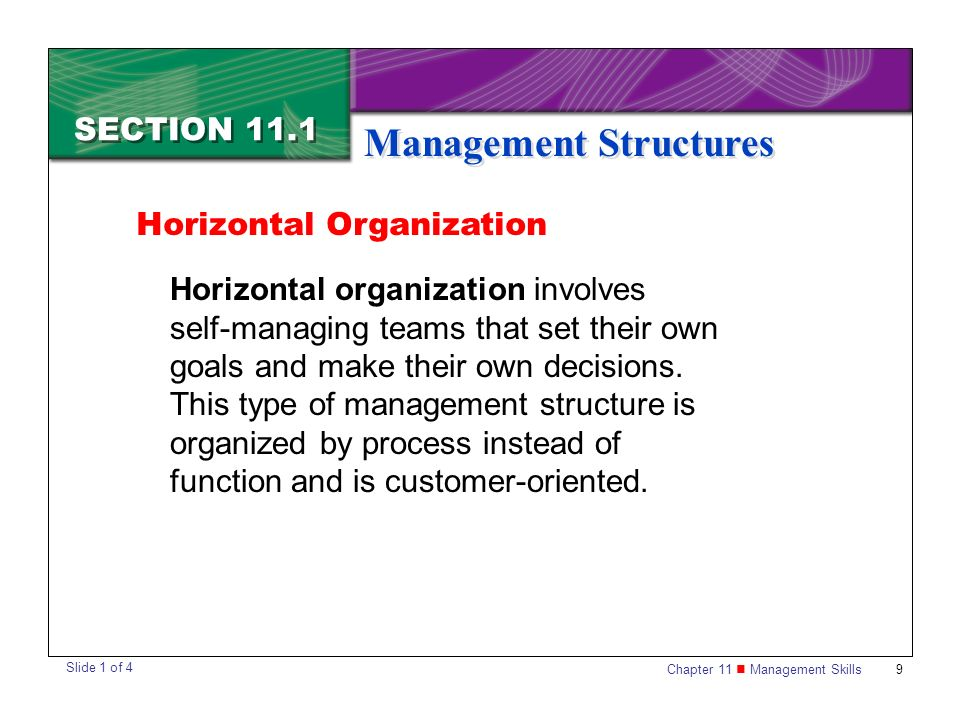 Chapter 11 Management Skills9 SECTION 11.1 Management Structures Horizontal organization involves self-managing teams that set their own goals and mak