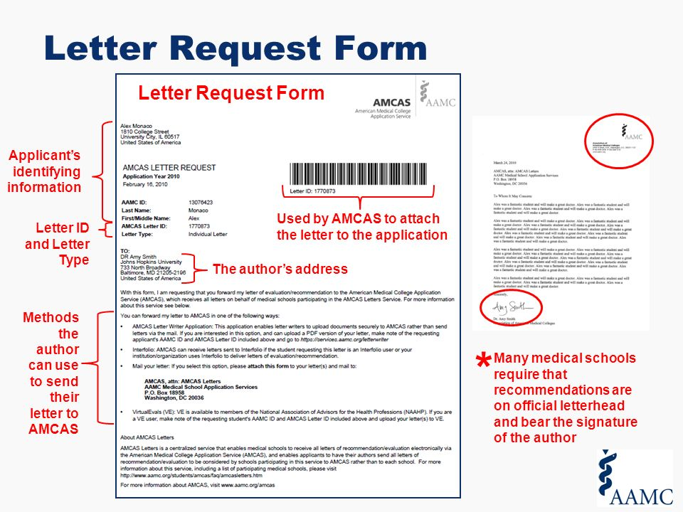 The AMCAS Application Process For Applicants Overview ppt download – Letter Request Form