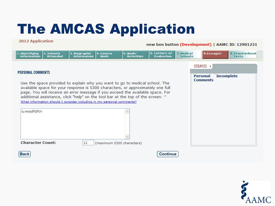 The AMCAS Application Process For Applicants. Overview. - ppt download