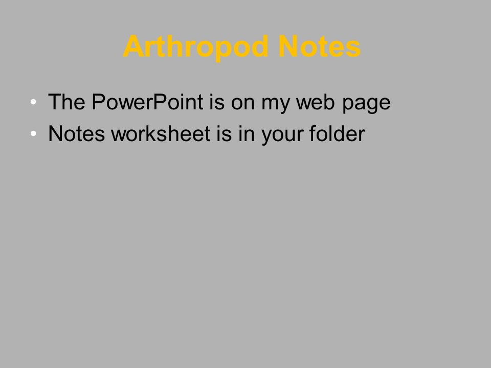 Bell work 1 Take out your bell work 2 On the next line write – Arthropod Worksheet