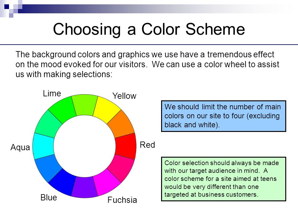 Color Effect On Mood web design principles. designing a website choice of a site color