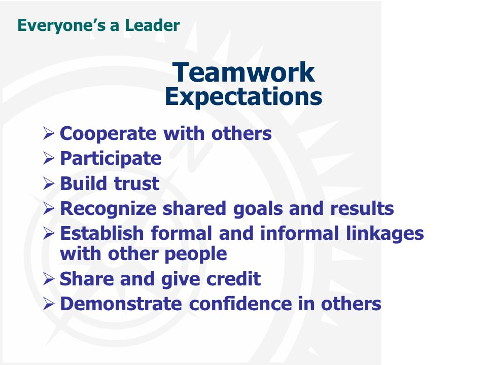Everyone's a Leader Teamwork Expectations  Cooperate with others  Participate  Build trust  Recognize shared goals and results  Establish formal and informal linkages with other people  Share and give credit  Demonstrate confidence in others