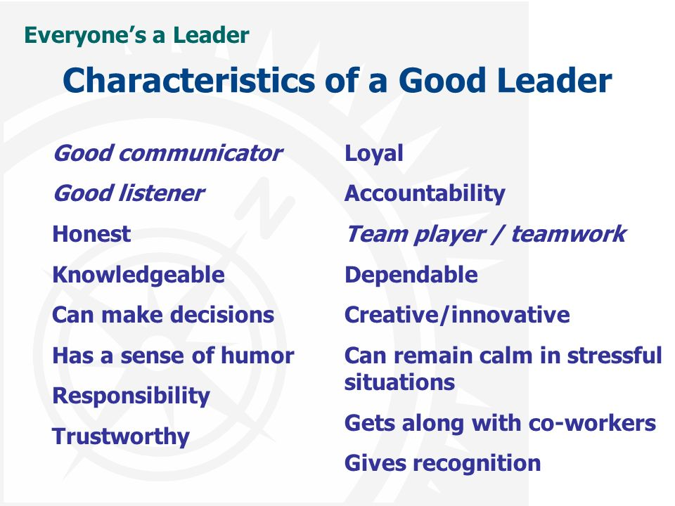 what are the characteristics of a good leader essay What are the characteristics of a good leader give reasons and examples to support your response in my view, there are many characteristics of a good leader.
