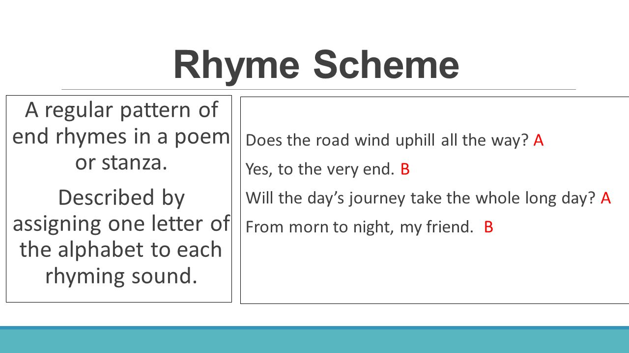 a rhyme scheme pattern of rhyme