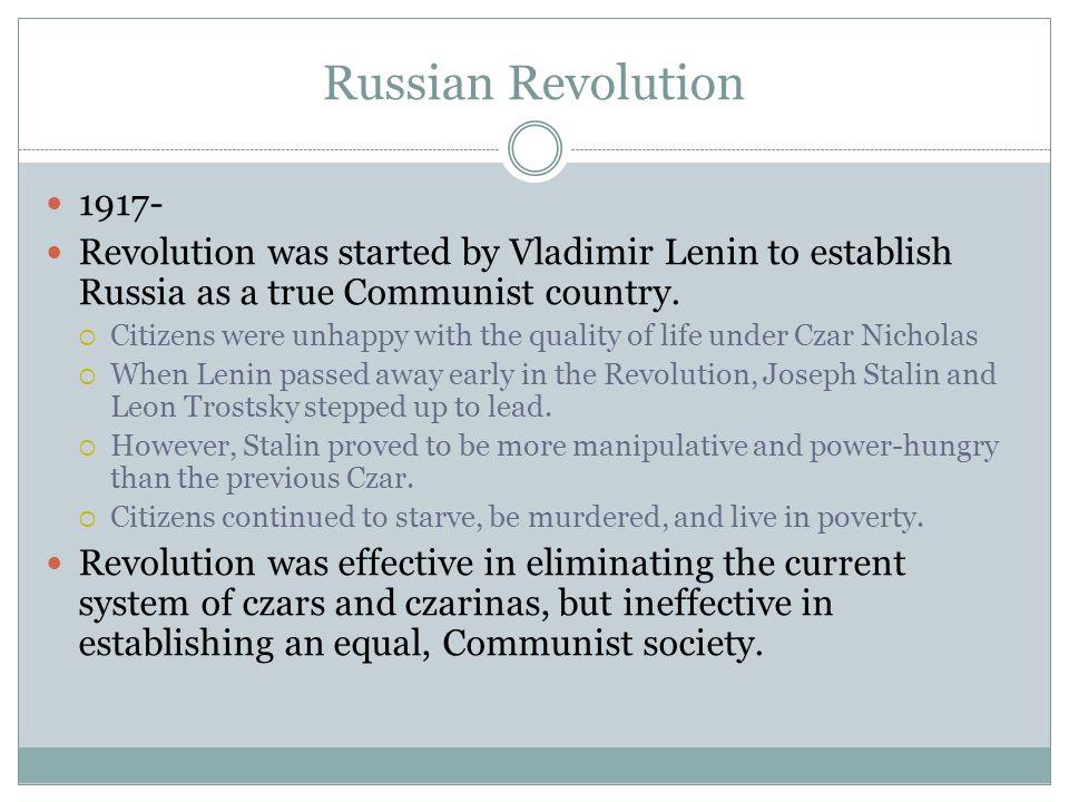 Haitian Revolution (1791-?) Mexican Revolution (1910 -?) Chinese ...