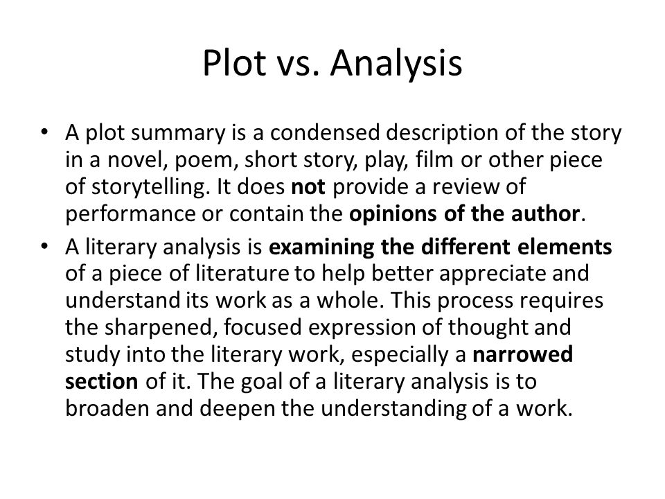 Writing a good analysis