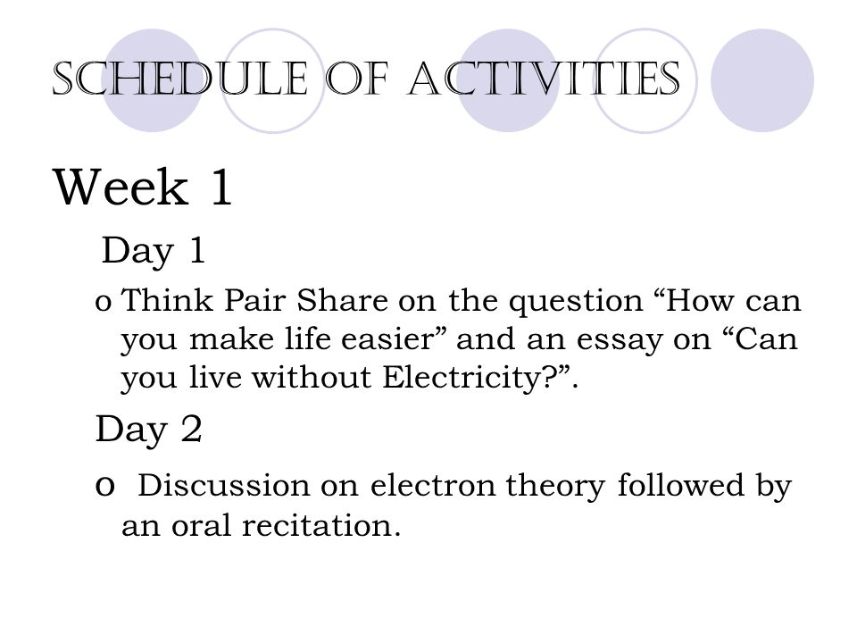 electricity for second year high school students catherine s lara  9 schedule
