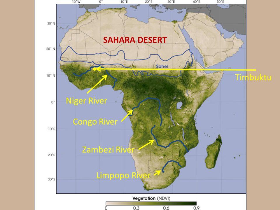 Africa Map Congo River%0A Africa Map Zambezi River SAHARA DESERT Niger River Congo River Zambezi River  Limpopo River Timbuktu