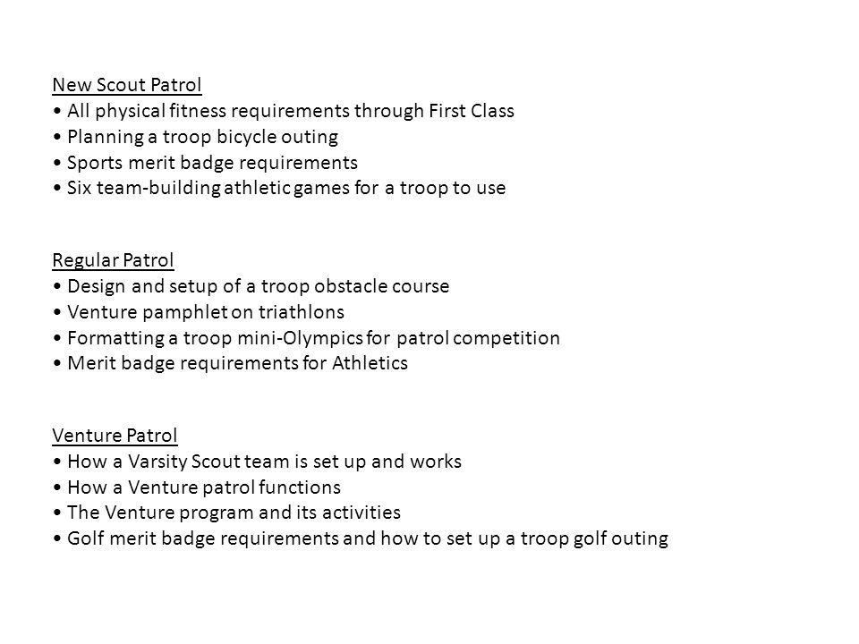 Athletics New Scout Patrol All physical fitness requirements – Golf Merit Badge Worksheet