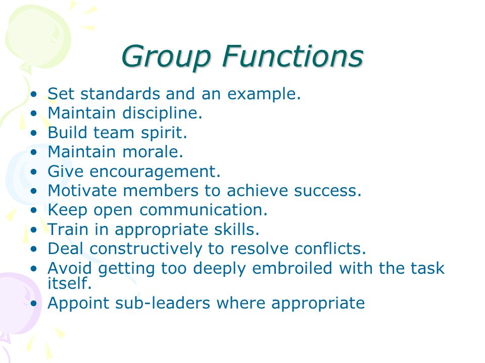 Group Functions Set standards and an example. Maintain discipline.