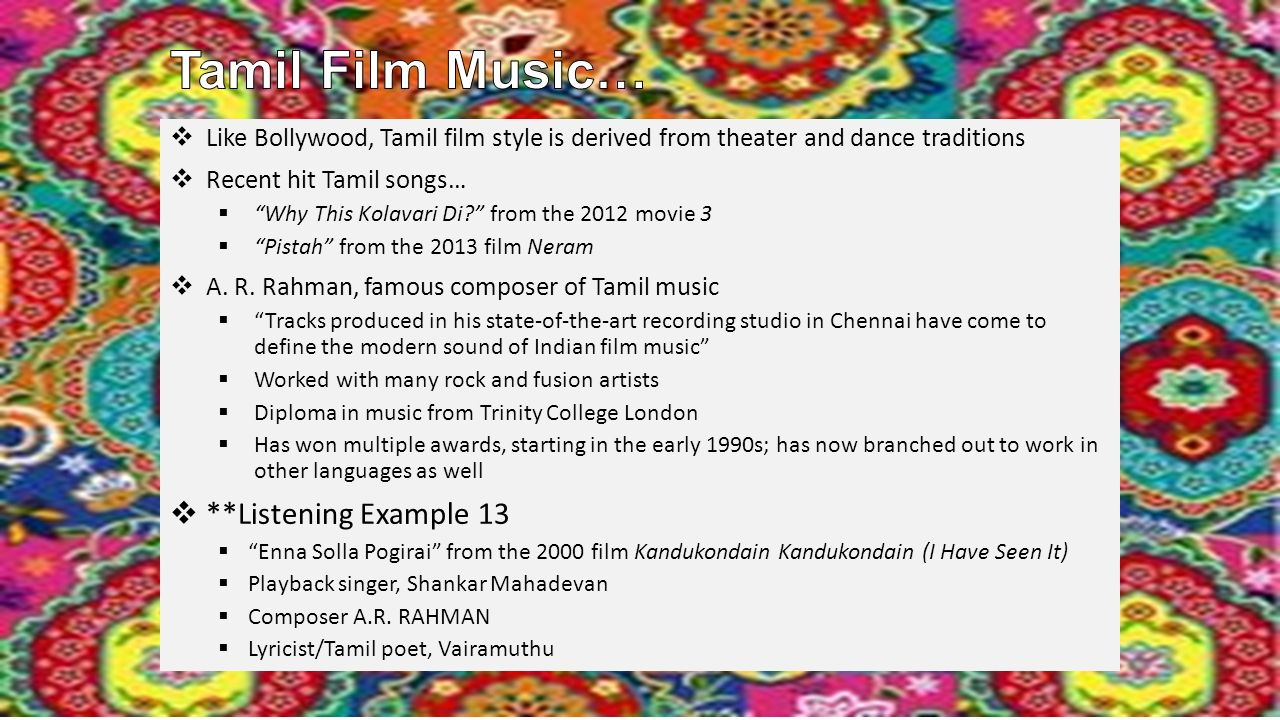 Bollywood is Hindi film music and dance; considered an important ...