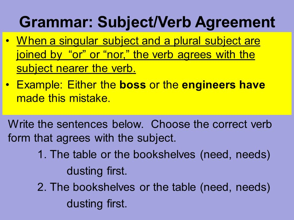 Grammar subjectverb agreement a compound subject is made of two or grammar subjectverb agreement when a singular subject and a plural subject are joined platinumwayz