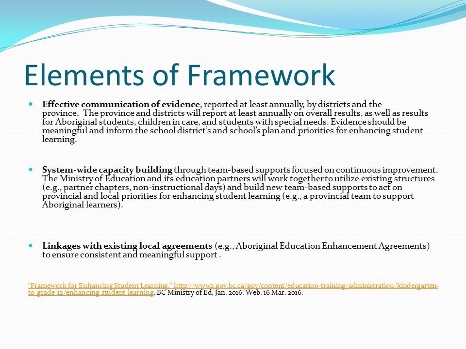 Elements of Framework Effective communication of evidence, reported at least annually, by districts and the province.
