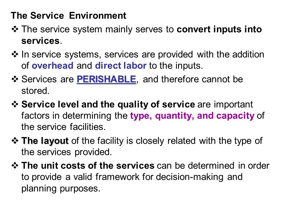 The Service Environment  The service system mainly serves to convert inputs into services.