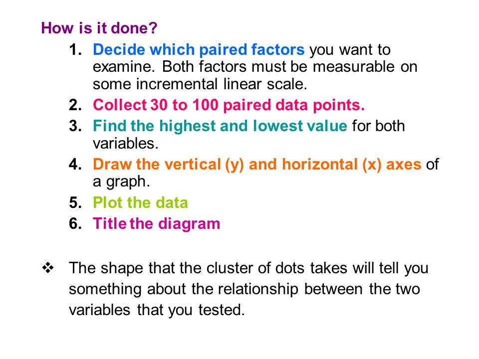 How is it done. 1.Decide which paired factors you want to examine.
