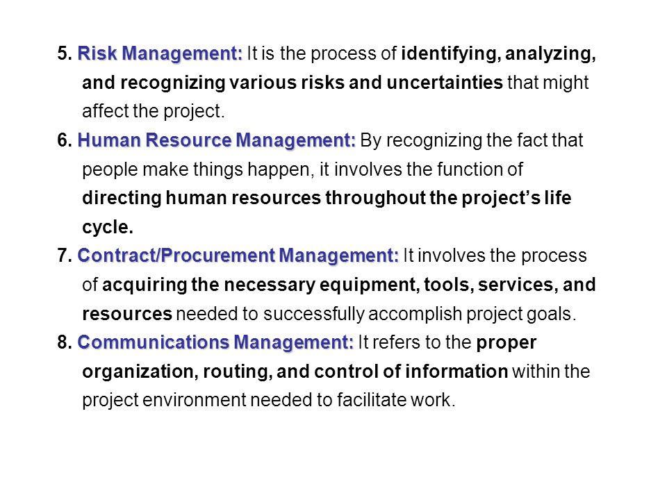 Risk Management: 5.