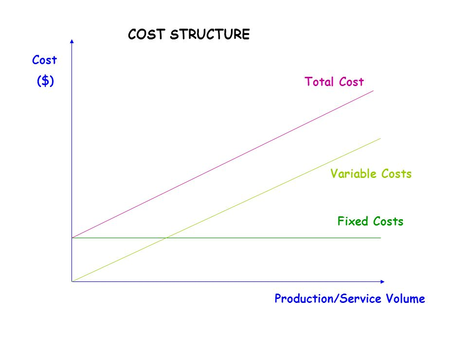 COST STRUCTURE Total Cost Variable Costs Fixed Costs Cost ($) Production/Service Volume