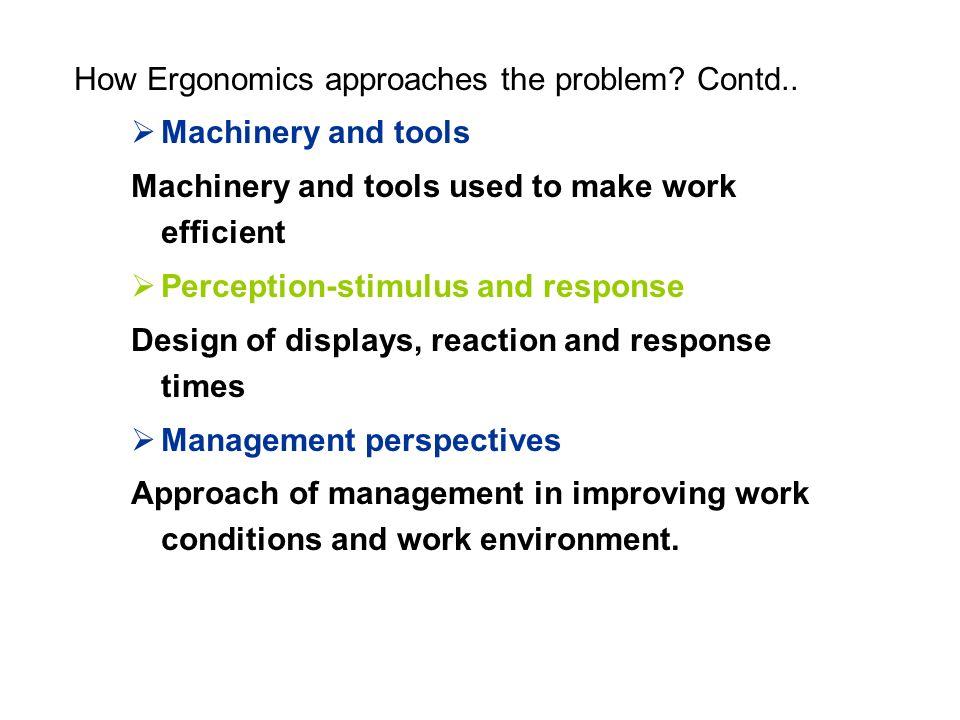 How Ergonomics approaches the problem. Contd..