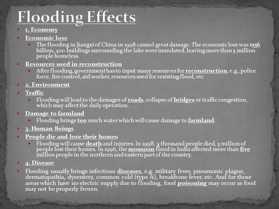 1. Economy Economic loss The flooding in Jiangxi of China in 1998 caused great damage.