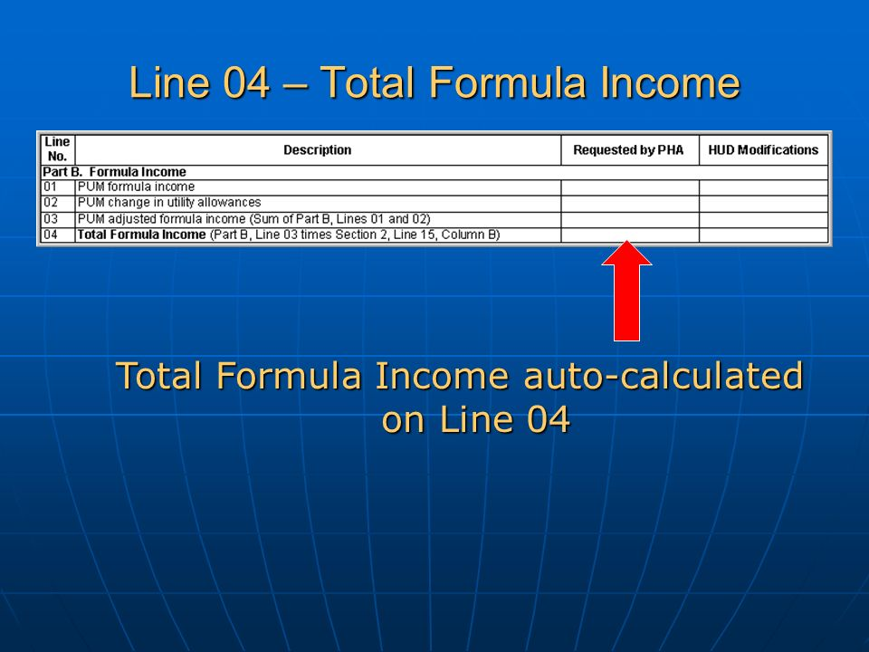 Line 04 – Total Formula Income Total Formula Income auto-calculated on Line 04