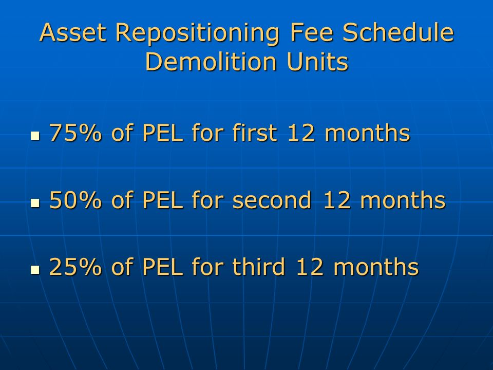 Asset Repositioning Fee Schedule Demolition Units 75% of PEL for first 12 months 75% of PEL for first 12 months 50% of PEL for second 12 months 50% of PEL for second 12 months 25% of PEL for third 12 months 25% of PEL for third 12 months